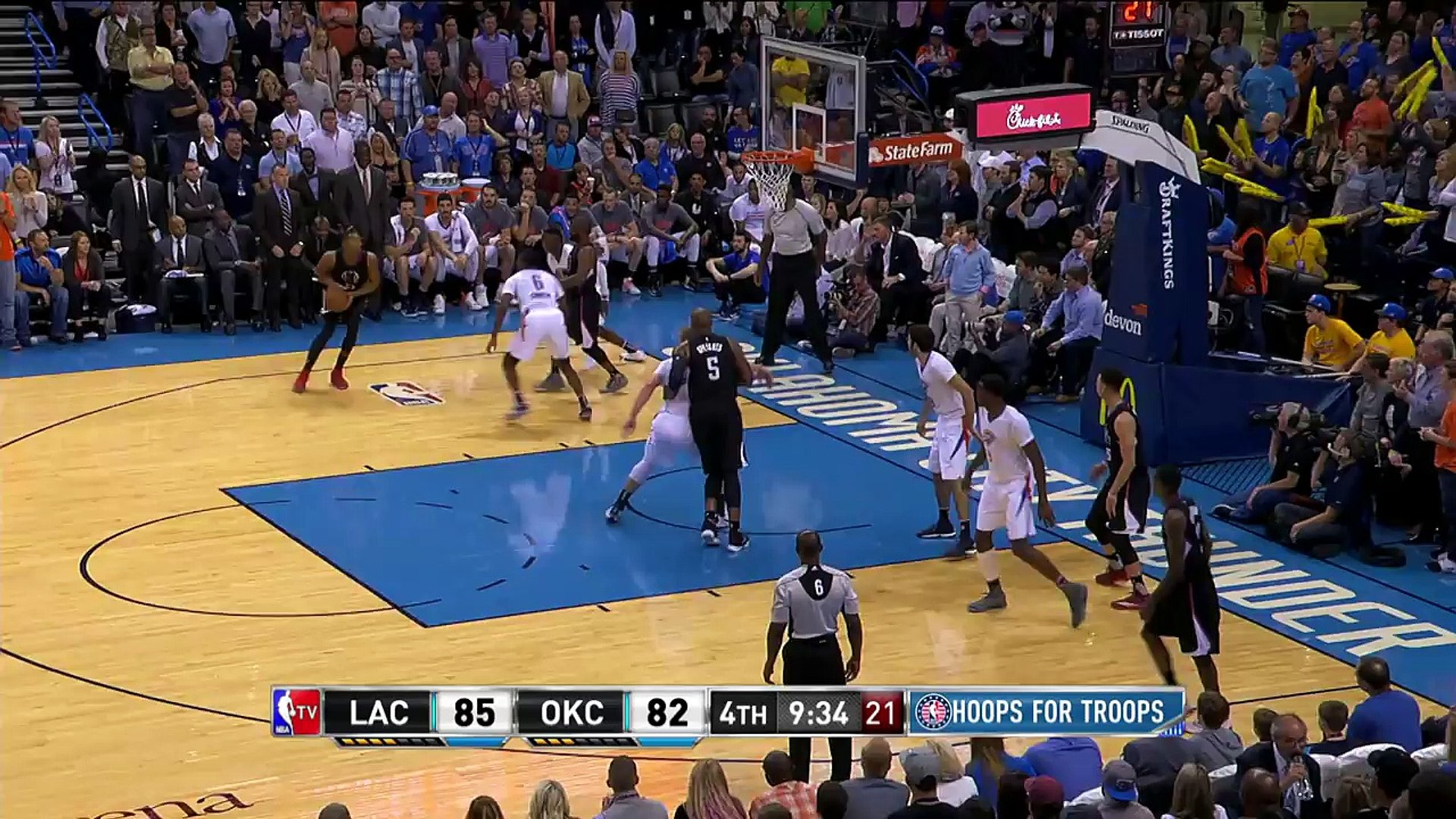 Wesley Johnson Chasedown Block on Semaj Christon | Clippers vs Thunder | Nov 11 | 2016-17 NBA Season