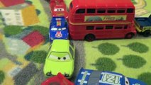 Disney Cars Traffic Jam with Toys from Original Cars and Cars 2 Diecast Collection in a Pile Up