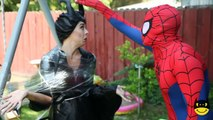Why is Frozen Elsa CRYING? w/ Spiderman vs Maleficent Joker Ugly Pink Spidergirl and Anna Superhero