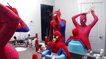 Spiderman VS Pink Spidergirl Bounce Contest! Funny Superhero Movie in Real Life w/ Spiderman Twins