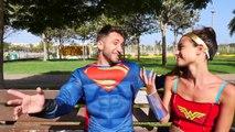 Spiderman Loses his hand Frozen Elsa VS Crazy Hand w Hulk Wonder Woman Superman
