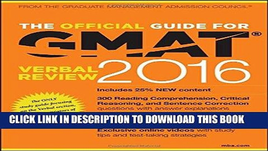Read Now The Official Guide for GMAT Verbal Review 2016 with Online Question Bank and Exclusive