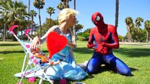 Frozen Elsa Becomes a Frog and Eats a Fly Spiderman Kisses Frog w Hulk Spiderbaby Superhero fun