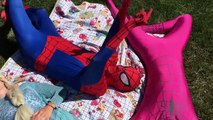 Frozen Elsa & Spiderman Anna, Fun Super Hero Carpool Ride! Funny Superhero Prank In Real Life in 4K!