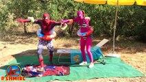Spiderman in The POOL w Pink Spidergirl vs Spiderman Swimming POOL prank Frozen Elsa in Real Life