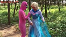 Spiderman vs Frozen Elsa vs Captain Moto racing Pink Spidergirl venom, Superman, Deadpool movie supe
