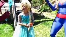 Spiderman Frozen Elsa vs FUNNY JOKER PRANK w Spidergirl Superman Mermaid Fun Superhero Comic