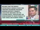 [PTVNews] Palasyo, nagpaabot ng pagbati sa bagong mga lider ng kapulungan ng kongreso [07|26|16]