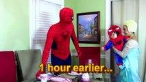 Spiderman Frozen Elsa Spiderbaby vs Pie: Spiderbaby birthday party Spiderman and Elsa Pie pranked