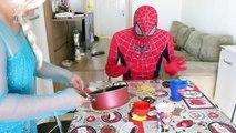 Spiderman Poo Fire with Frozen Elsa & Maleficent! Spiderman Farts Flames Superhero Fun