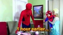 Spiderman Frozen Elsa Spiderbaby vs Pie Spiderbaby birthday party Spiderman and Elsa Pie pranked