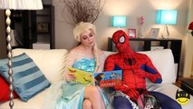 Is Spiderman Pregnant? Fat Spiderman vs Pregnant Elsa Frozen Prank SuperHero IRL