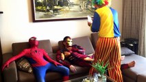 #SPIDERMAN and IRONMAN becomes Zombies w/ Evil Clown PRANK FUNNY Zombies Superheroes In Real Life :)