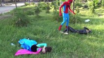 Frozen Elsa vs Orange Spiderman with ball pit Black Spiderman vs anna Fun Superheroes movie in real