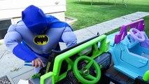 Frozen Elsa SNAKE ATTACK! SPIDERMAN Joker Pink Spidergirl Meleficent Superman Kids Toys Cars Prank