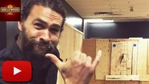 (Video) Jason Momoa Sips Beer And Goes Axe-Throwing  | Hollywood Asia