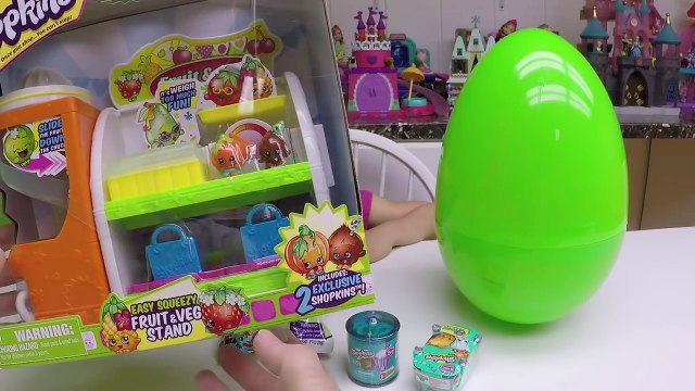 CUTE SHOPKINS TOYS FRUIT & VEG STAND + Big Egg Surprise Opening Toy Surprises My Little Pony