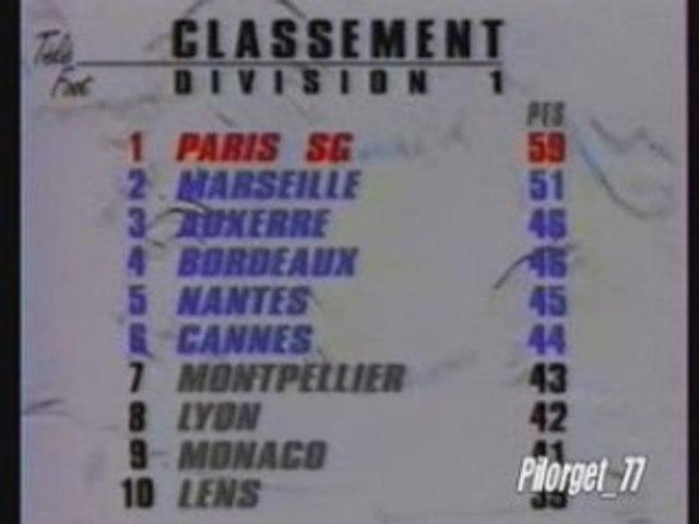 CLASSEMENT 1ère DIVISION 93-94