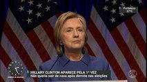 Hillary Clinton faz primeira aparição pública após derrota nas eleições