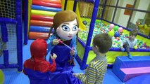 Fun Indoor playground - Soap Bubbles show Little boy Spiderman Playing with Anna Frozen in real life