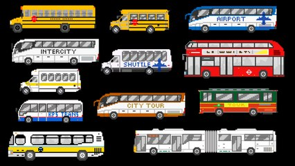 Buses - Street Vehicles - The Wheels on the Bus - The Kids' Picture Show (Fun & Educational)