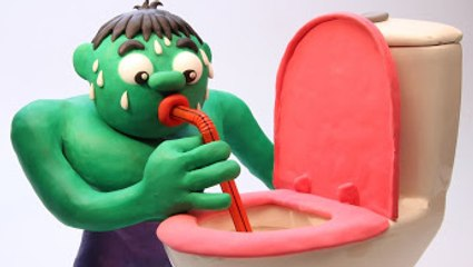 Hulk DRINKS FROM A TOILET! Superheroes in Real Life Animated Movies (Play Doh)