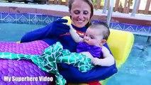 Frozen Elsa Spiderman REAL UNICORN POOL PARTY JOKER PRANK Supergirl BABY Mermaid In Real Life