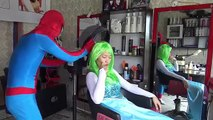 Frozen Elsa vs Spiderman Play with Big Ball Pink Spidey Captain Fun Superheroes movie in real life