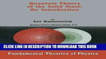 Ebook Quantum Theory of the Solid State: An Introduction (Fundamental Theories of Physics) Free