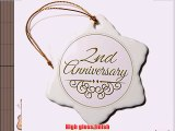 3dRose orn_154444_1 2nd Anniversary Gift Gold Text Celebrating Wedding Anniversaries Two Years