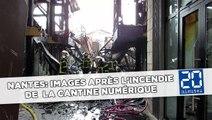 Nantes: Images après l'incendie de  la Cantine numérique