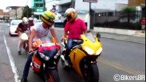 Honda CBR 1000RR Burnout, S1000RR & Hayabusa Wheelie, CBR vs. 650F, R1 R6 ZX6R Hornet - Lound Sounds