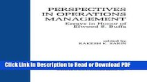 PDF Perspectives in Operations Management: Essays in Honor of Elwood S. Buffa Book Online