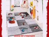 Kinder Teppich Pirat mit Papagei Schatzkiste Kinderzimmer Karo Grau Anthrazit Grösse:120x170