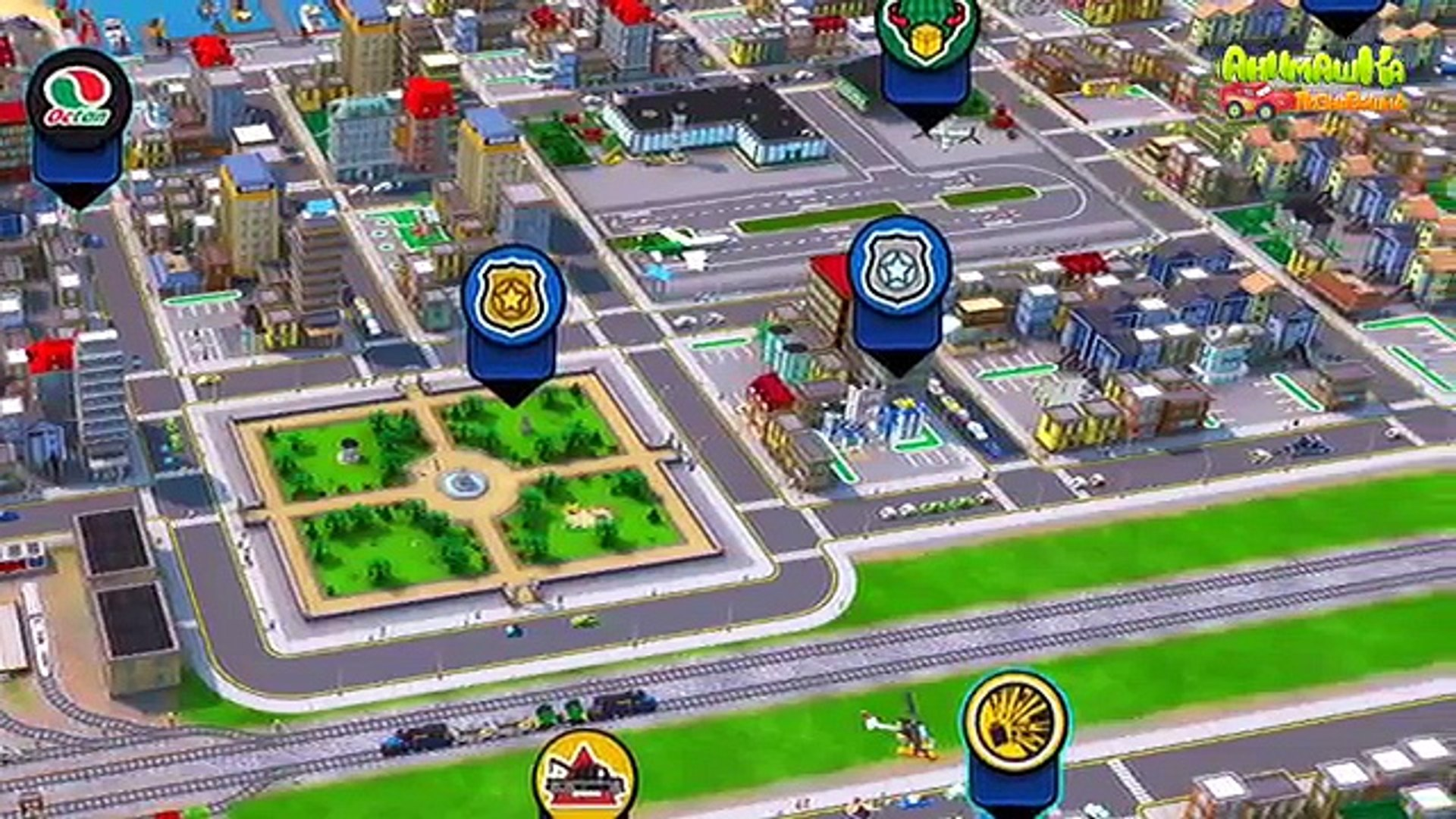 Мультик про машинки и паровозики. Мультфильм LEGO City. Прогулка по городу LEGO City.