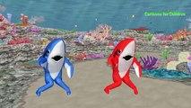 Sharks Cartoons For Children | Sharks Finger Family Nursery Rhymes | Dinosaur Vs Shark Battle
