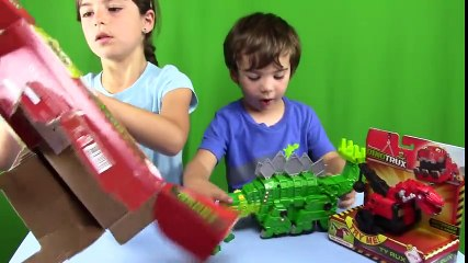 DINOTRUX Toys  Garby eating and POOPING rocks with Ty Rux! UNBOXING + Play