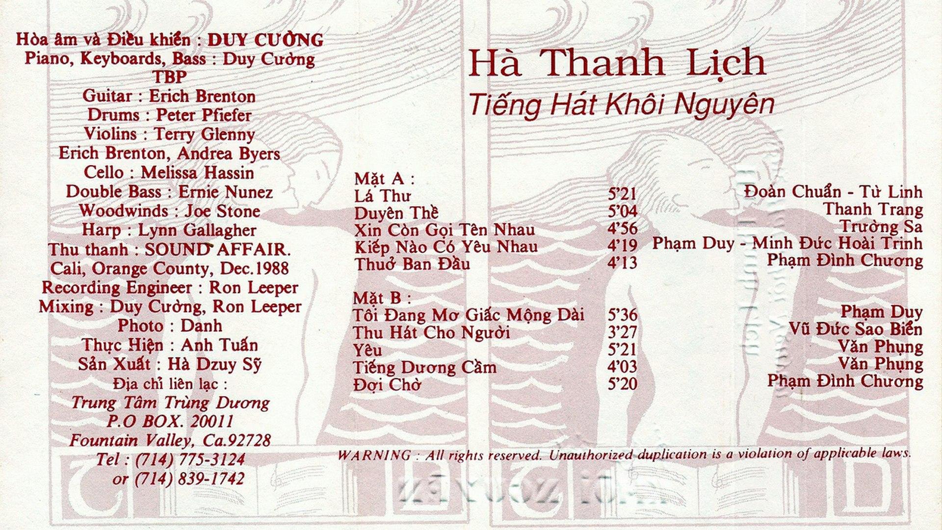 Hà Thanh Lịch - Tiếng Hát Khôi Nguyên