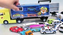Car Carrier Police Pororo Tayo The Little Bus Garage Learn Numbers Colors Toy Surprise #1