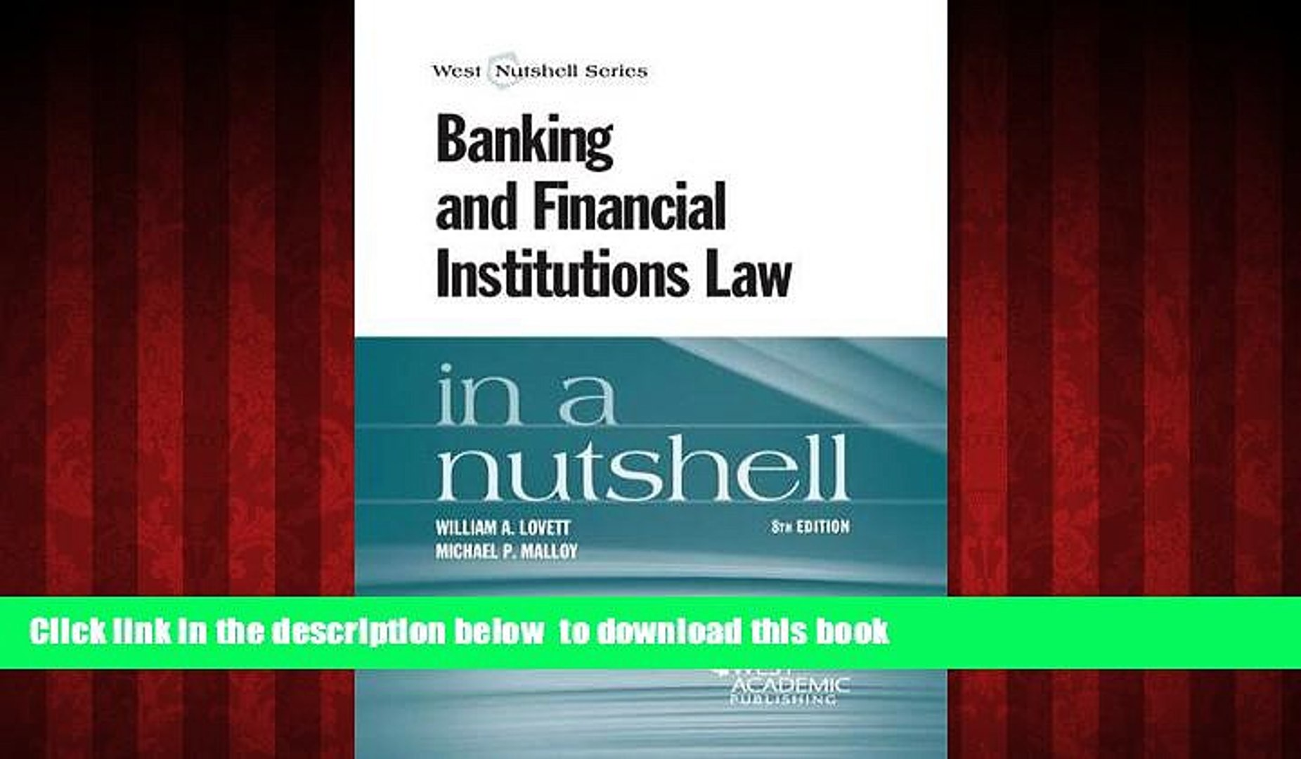Best books  Banking and Financial Institutions Law in a Nutshell [DOWNLOAD] ONLINE