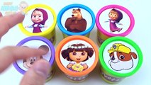 Cups Play Doh Clay Masha and the Bear Mickey Mouse Paw Patrol Dora Learn Colours for Children