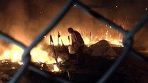 Refugiados provocan incendio en campamento