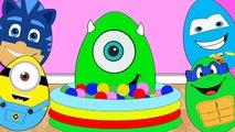 New Kids Surprise Eggs 2016 Best Ball Pit Pool Blue Lightining McQueen TMNT Pj Masks Toys Kids Video