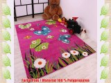 Kinderteppich Schmetterling Butterfly Design Pink Grün Türkis Grösse:160x220 cm