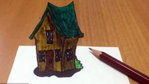 3D drawing on paper Step by Step - How to Draw 3d House on paper
