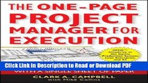 Download The One-Page Project Manager for Execution: Drive Strategy and Solve Problems with a