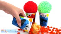 Elmo Foam Clay Surprise Eggs Ice Cream Cups Disney Frozen Minions Donald Duck RainbowLearning