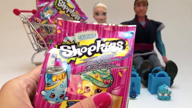 Shopkins Toys Disney Frozen Elsa and Kristoff Shopping Surprise Basket Shopkins Collection