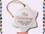 3dRose orn_154451_1 9Th Anniversary Gift Gold Text For Celebrating Wedding Anniversaries 9