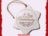 3dRose orn_154454_1 12Th Anniversary Gift Gold Text For Celebrating Wedding Anniversaries 12